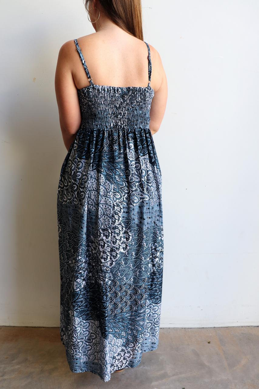 b5e39733174 ... Womens flowy maxi sundress tunic gown with shirred bodice and adjustable  spaghetti straps in peacock paisley ...