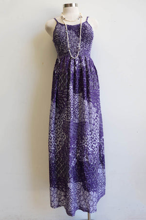 Womens flowy maxi sundress tunic gown with shirred bodice and adjustable spaghetti straps in peacock paisley print. Generous one size fit flatters most from size 10 to 18 or up to 120cm bust - Purple