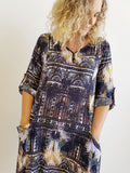 Chapel Street Winter Shirt Dress with roll-up sleeves and oversized pockets in knee-length cut. Lovely ornate print textured rayon fabric.