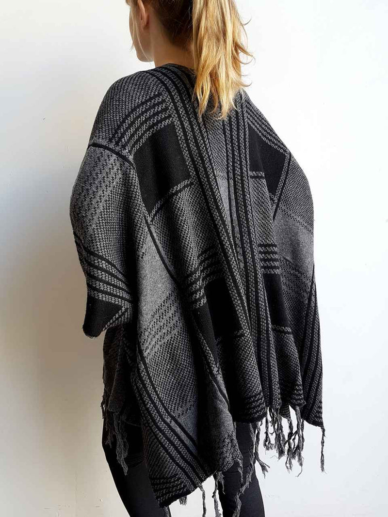 Plaid Poncho Cardi. Thin Tassel Fringe. Black + Charcoal Panels.