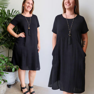 Short-sleeved, below-the-knee summer dress in a loose shift style. Made with a soft linen blend fabric with sizes small to plus size.
