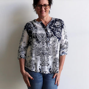 Chelsea Blouse with tie-back long sleeve, mandarin colour and scalloped hemline. Navy, black and creamy white 'provincial' print available in petite to plus sizes.