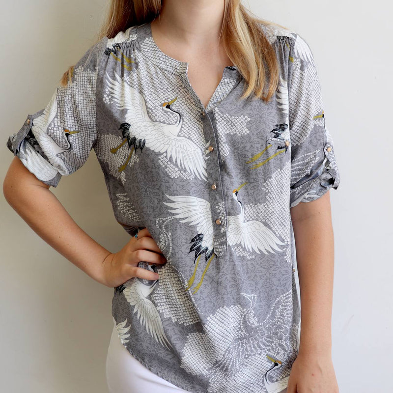 Chelsea Blouse with 3/4 sleeve in soft rayon fabric for smart casual wear. Sizes 8 to 20 available.