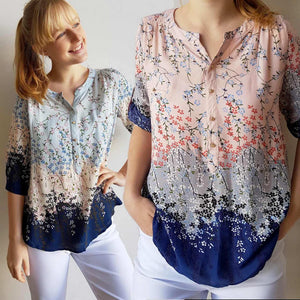 Chelsea Blouse Top in Springtime Floral Print + button up 3/4 sleeves.