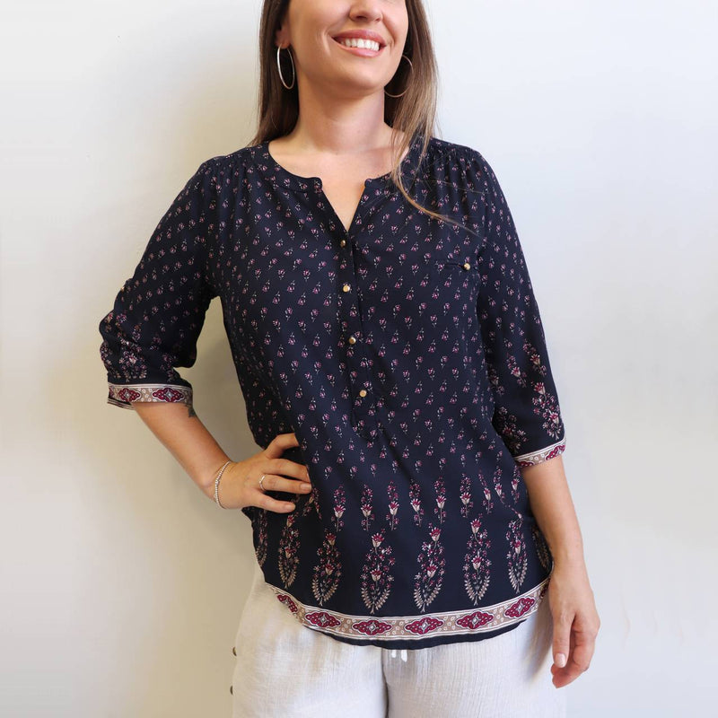 Chelsea Blouse with 3/4 sleeve in navy blue rayon print. Sizes 10 to 20 available.