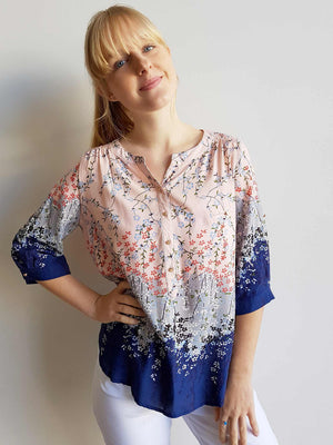 Chelsea Blouse Top in Springtime Floral Print + button up 3/4 sleeves. Pink