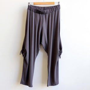 Rayon jersey fabric harem pant. Ethical + handmade one-size genie pant. Charcoal.