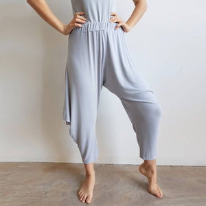 Rayon jersey fabric harem pant. Ethical + handmade onesize genie pant. Silver Grey.