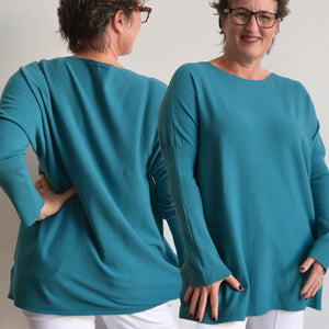 City Sweater Cotton Knit Jumper - Teal Blue