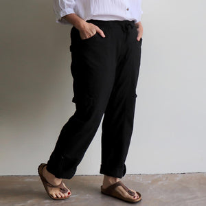 Classic Cargo Pant, the stretch utility-style pull-on casual trouser. Plus fitting. Black. Side.