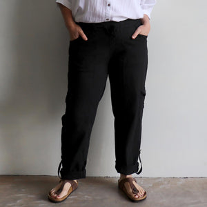 Classic Cargo Pant, the stretch utility-style pull-on casual trouser. Plus fitting. Black. Front/