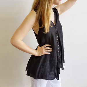 Coconut Summer Tank Top Brown Buttons Sleeveless Lightweight V-Neck. Black.