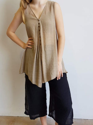 Coconut Summer Tank Top Brown Buttons Sleeveless Lightweight V-Neck. Mocha.