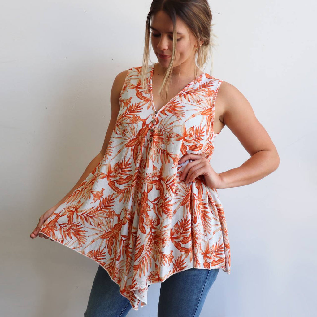 Women's Coconut Summer Tank top in a lovely Palm Leaf pattern. This sleeveless, front button up top is made from easy-care rayon fabric in an open, v-neck style. Sizes 10-22. Spice.