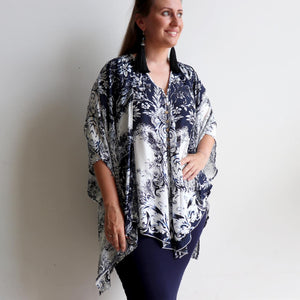 Coconut Summer Tank is a sleeveless top with a loose and flattering swing style in classic 'provincial' print of navy, black and creamy white. Plus sizes available.