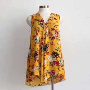 Faux buttoned, longer length tank for springtime colour or cool summer comfort - Floral Sasaki Print - Sunshine Yellow.