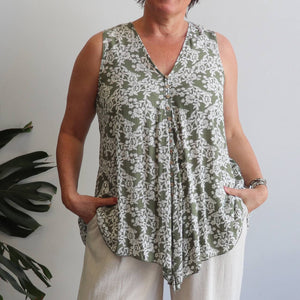 Coconut Summer Tank - spring blossom. Sleeveless women's top with a deep v-neck and bias cut. Made from quality rayon in sizes 10-22. Olive Green.