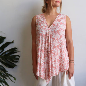 Coconut Summer Tank - spring blossom. Sleeveless women's top with a deep v-neck and bias cut. Made from quality rayon in sizes 10-22. Pink.