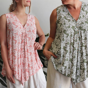 Coconut Summer Tank - spring blossom. Sleeveless women's top with a deep v-neck and bias cut. Made from quality rayon in sizes 10-22.