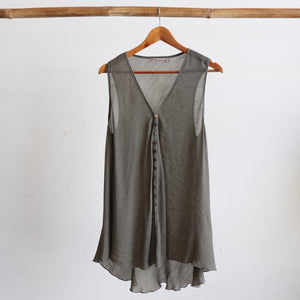 Light summer sleeveless tank top in sizes 10 to 22. Eucalyptus Green.