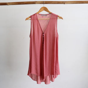 Light summer sleeveless tank top in sizes 10 to 22. Rose Pink.