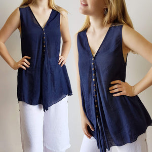 Coconut Summer Tank Top Brown Buttons Sleeveless Lightweight V-Neck. Navy Blue.
