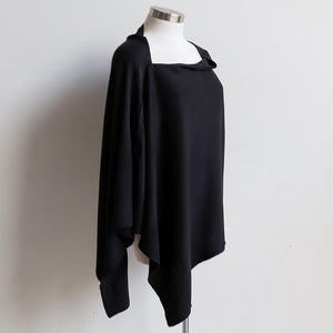 Cold Snap Knit Wrap - Convertible winter button scarf, poncho and shrug all in one. Black.