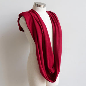 Cold Snap Knit Wrap - Convertible winter button scarf, poncho and shrug all in one. Red Infinity Scarf View.