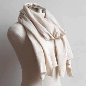 Cold Snap Knit Wrap - Convertible winter button scarf, poncho and shrug all in one. Cream.