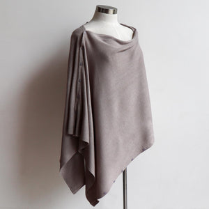 Cold Snap Knit Wrap - Convertible winter button scarf, poncho and shrug all in one. Moonshine.