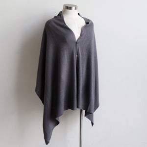 Cold Snap Knit Wrap - Convertible winter button scarf, poncho and shrug all in one. Pewter grey.