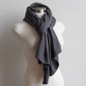 Cold Snap Knit Wrap - Convertible winter button scarf, poncho and shrug all in one. Pewter grey. Scarf view.
