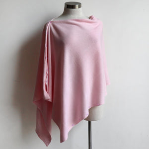 Cold Snap Knit Wrap - Convertible winter button scarf, poncho and shrug all in one. Pink.