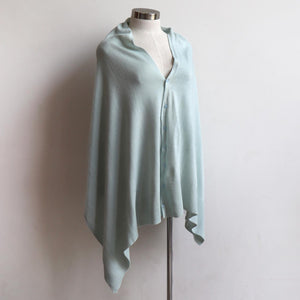 Cold Snap Knit Wrap - Convertible winter button scarf, poncho and shrug all in one. Seafoam.