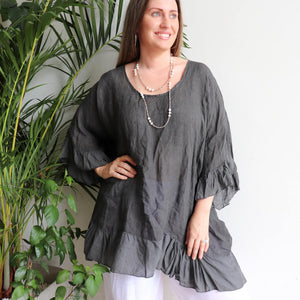 Luxurious 100% Italian Linen kaftan style top with feminine floaty ruffles. Great for the beach or any casual occasion. Charcoal.