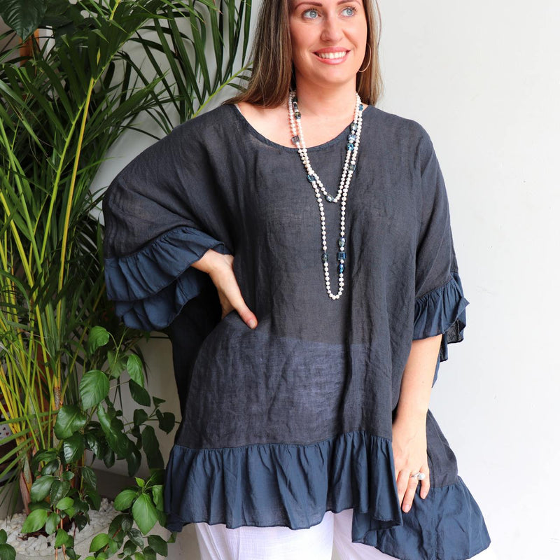 Luxurious 100% Italian Linen kaftan style top with feminine floaty ruffles. Great for the beach or any casual occasion. Navy Blue.