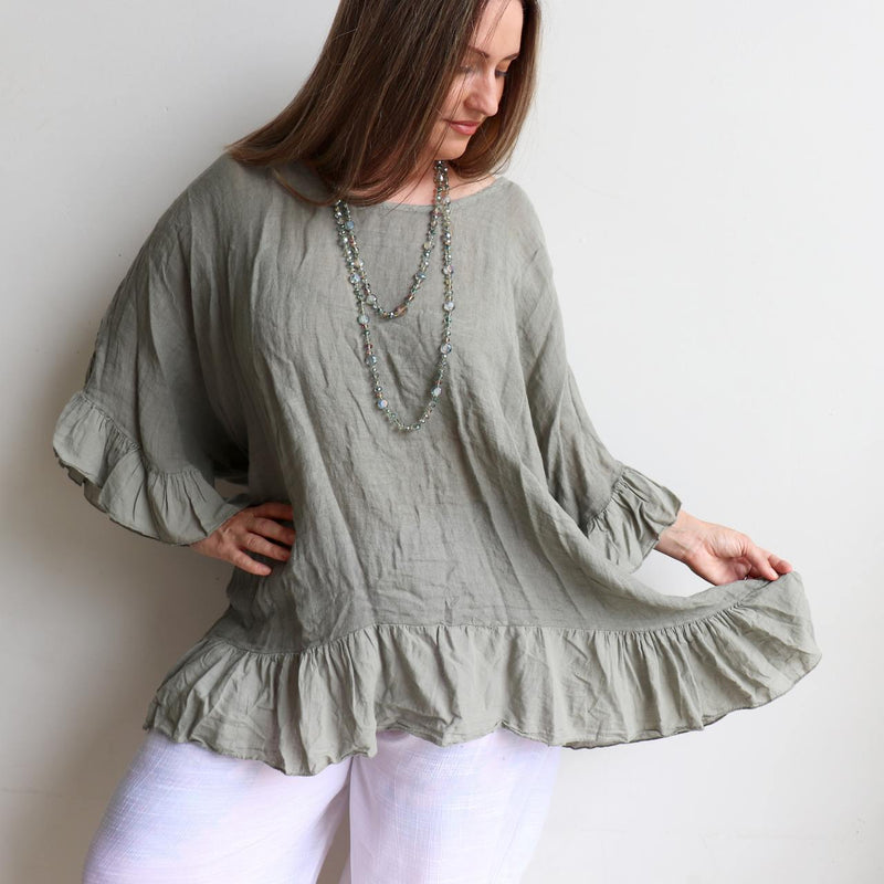 Luxurious 100% Italian Linen kaftan style top with feminine floaty ruffles. Great for the beach or any casual occasion. Olive Green.