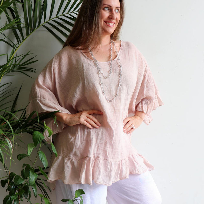 Luxurious 100% Italian Linen kaftan style top with feminine floaty ruffles. Great for the beach or any casual occasion. Rose Pink.