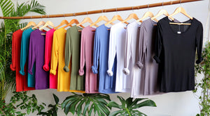 Polished Cotton Long Sleeve Tee - COLOURS