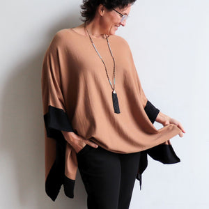 Contrast Knit Kaftan the chic winter poncho throw-over top in a plus-size style. Camel.