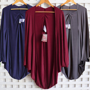 Women's oversize cocoon cardigan jacket top made with soft draping double stretch rayon.