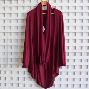 Women's oversize cocoon cardigan jacket top made with soft draping double stretch rayon.  Sangria.