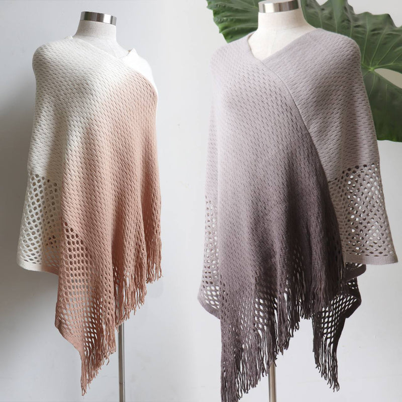 Coronet Peak Poncho - Cream Blush + Storm Grey.
