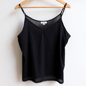 Cotton Camisole Top in Petite to Plus Sizes. Black