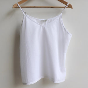 Cotton Camisole Top in Petite to Plus Sizes. White.