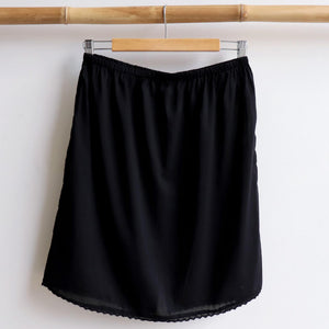 Cotton Half Slip Skirt Petticoat Underwear. Black.