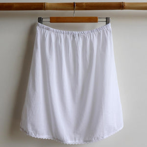 Cotton Half Slip Skirt Petticoat Underwear. White.