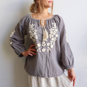 Handcrafted cotton blouse with beautiful detail cotton embroidery. Soft pastels and classic navy and white colours. Kobomo. Stone + Natural.
