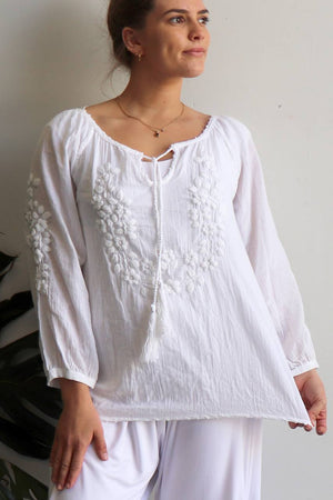 Handcrafted cotton blouse with beautiful detail cotton embroidery.Free size garment fits bust up to 115cm. White Kobomo.