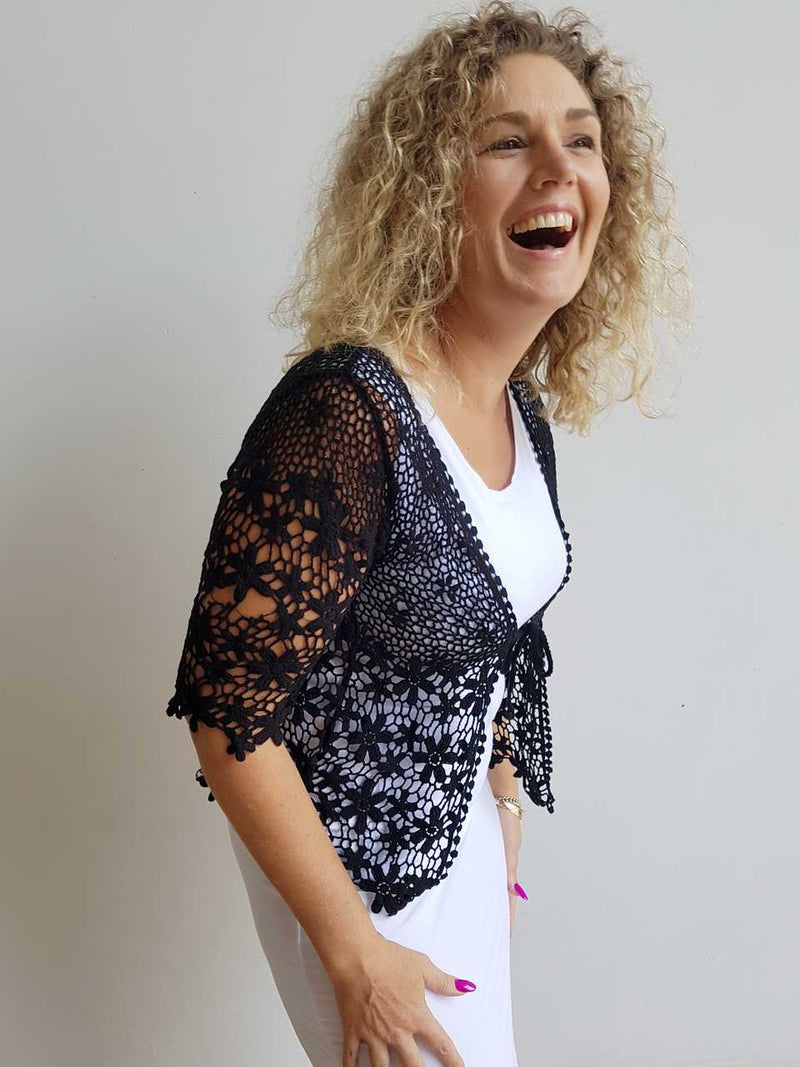 cotton crochet cardigan jacket with flower black